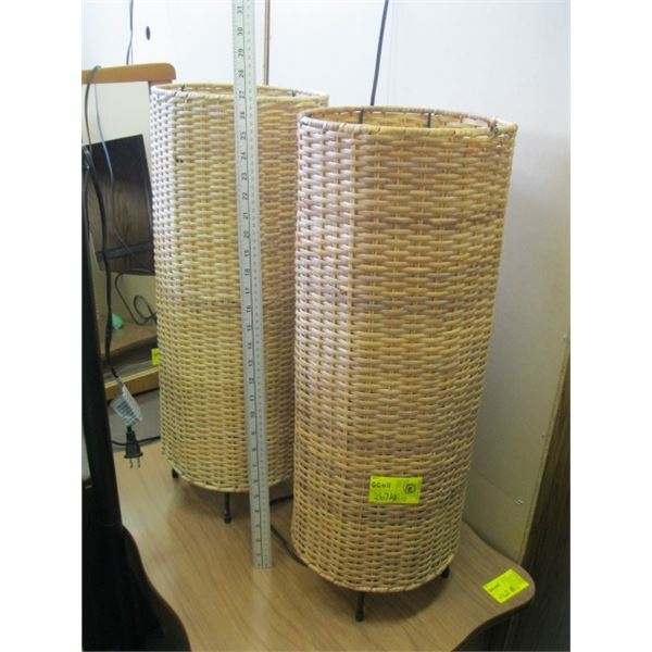 PAIR OF WICKER TABLE LAMPS