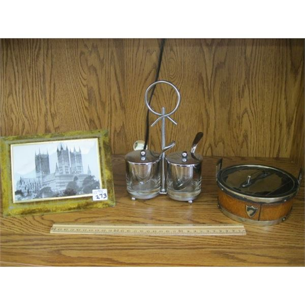 MISC. FRAMED PICTURE, CONDIMENT DISPENSER & SMALL WOOD & CERAMIC METAL CONTAINER, MAYBE TOBACCO?