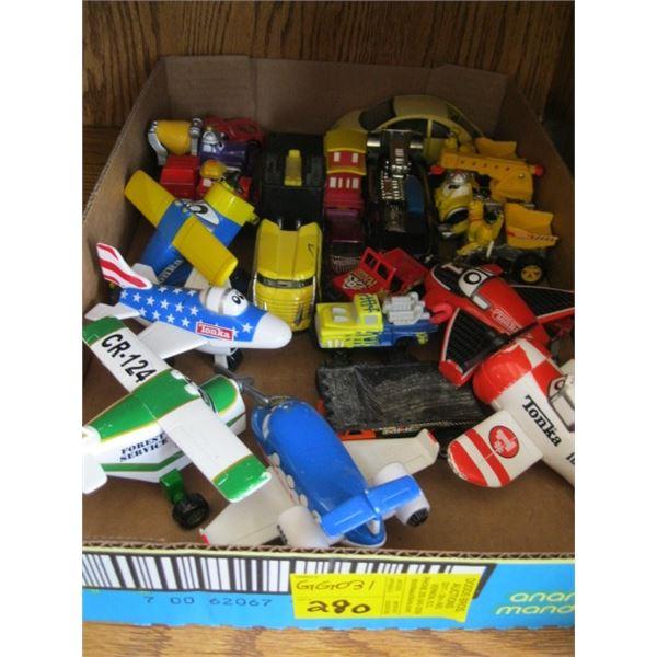 BOX OF ASST. PLANES, CARS, TRUCKS, ETC.