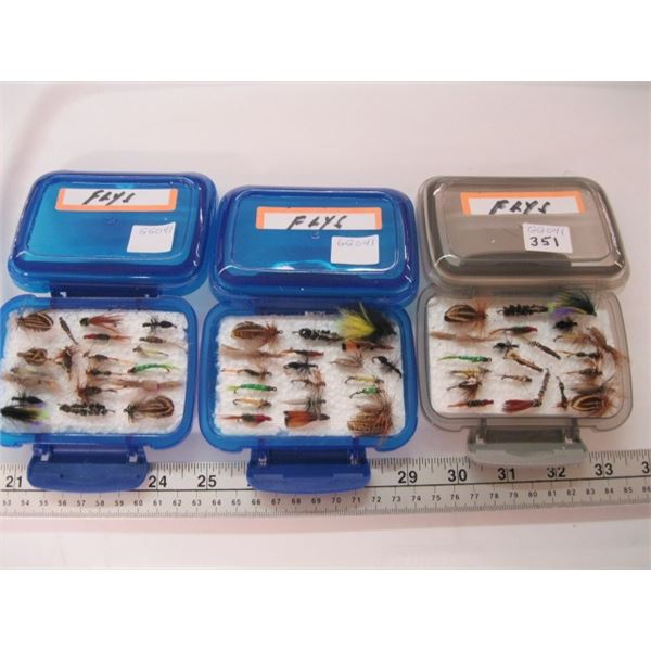 3 FLY BOXES WITH FLIES
