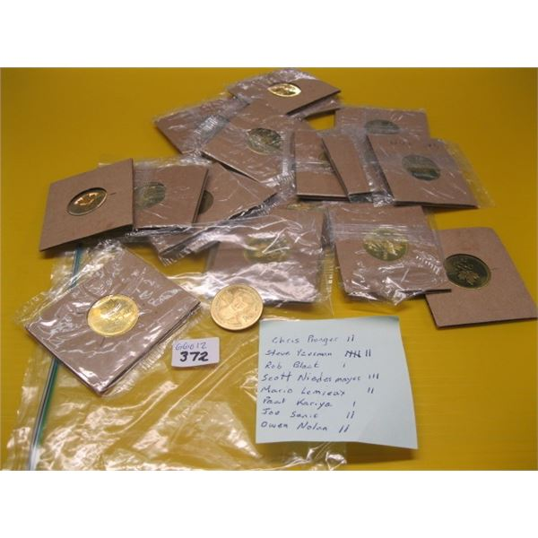 CANADIAN HOCKEY PLAYER COLLECTOR COINS, CANADA ONE CENT & FIVE CENT, ETC.