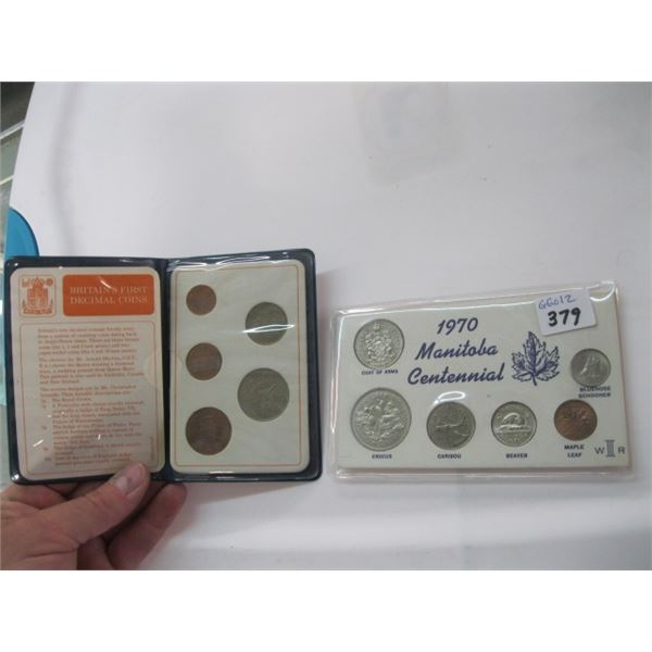 1970 MANITOBA CENTENNIAL COIN SET & A BRITAIN'S FIRST DECIMAL COIN SET