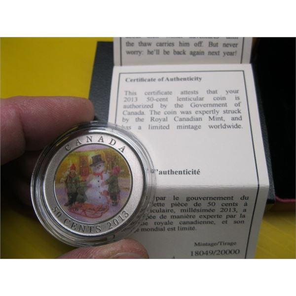 2013 50 CENT COIN, THE SNOWMAN