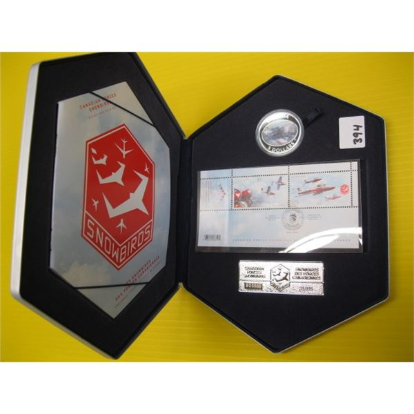 CANADIAN FORCES SNOWBIRDS STAMP & COIN SET, THE 5$ COIN IN THE SET IS .999 SILVER (TAX EXEMPT)