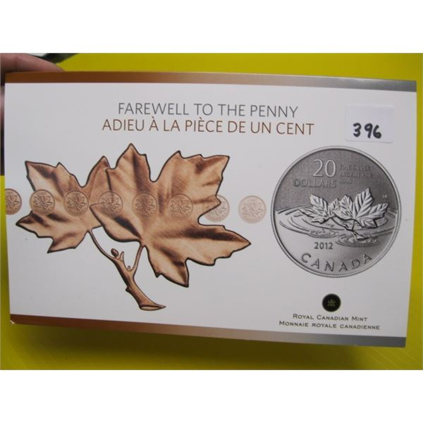 FAREWELL TO THE PENNY $20 FINE SILVER, .999 COIN (TAX EXEMPT)
