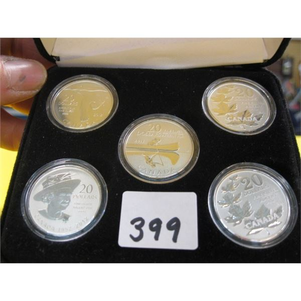 5 $20 CANADIAN FINE SILVER, .999 (TAX EXEMPT) COINS