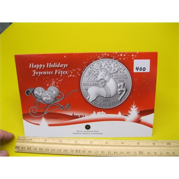 HAPPY HOLIDAYS ROYAL CANADIAN MINT $20 FINE SILVER .999 (TAX EXEMPT) 2012 COIN