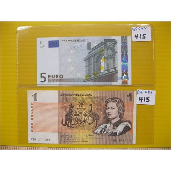 5 EURO BILL & AN AUTRALIAN ONE DOLLAR BILL