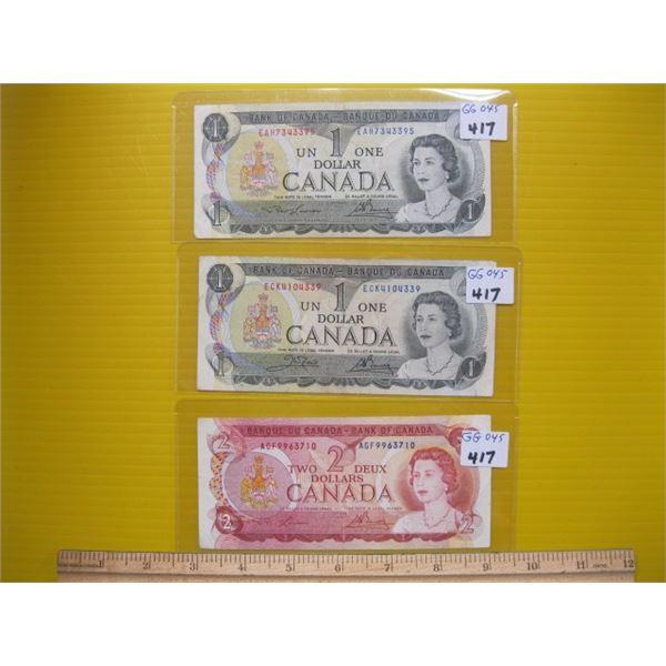 CANADIAN 1974 $2 BILL & 2 1973 $1 BILLS