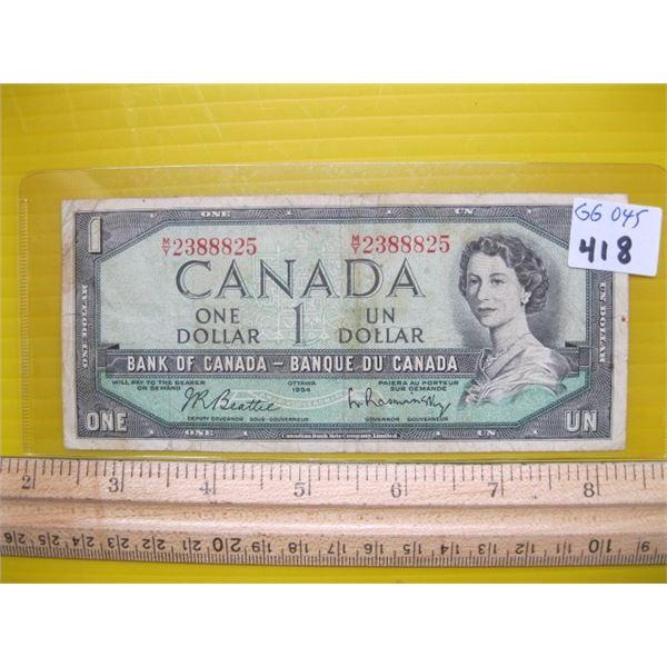 1954 CANADIAN $1 BILL