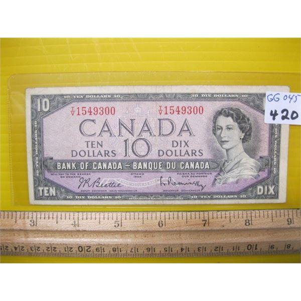 1954 CANADIAN $10 BILL