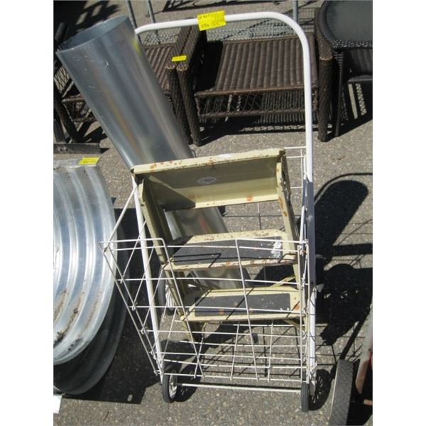 SMALL STEP LADDER, SHOPPING CART & TIN PIPE