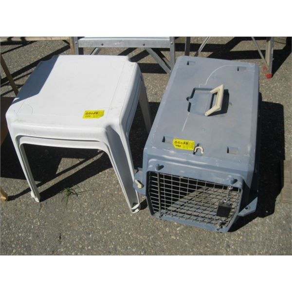 2 SMALL PATIO TABLES & A SMALL ANIMAL CAGE