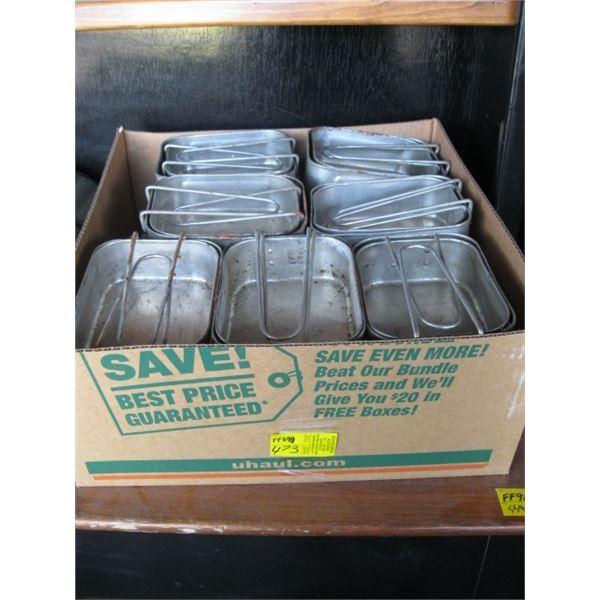 BOX OF TIN CAMPING COOK PANS