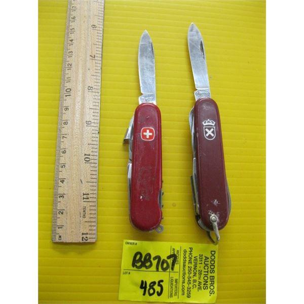 2 FOLDING MULTI PURPOSE KNIVES, 1 SWISS MADE