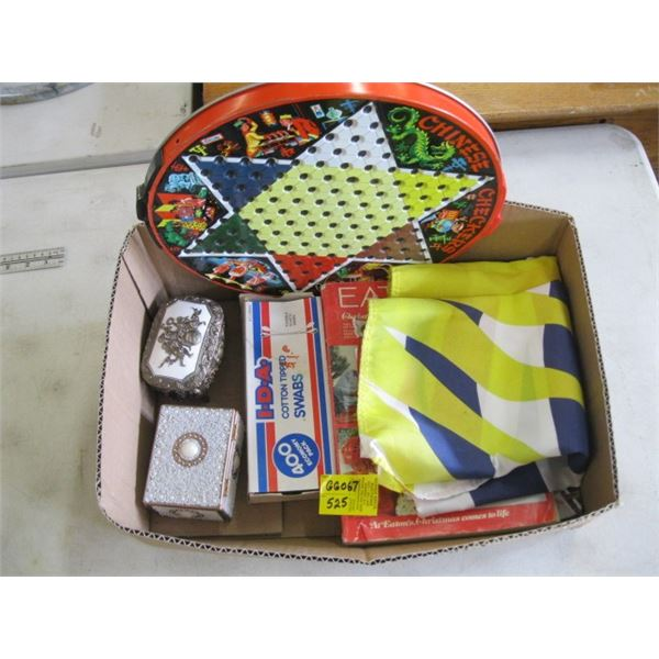 BOX WITH FLAT, CATALOGUES, SMALL JEWELLERY BOXES & GAME