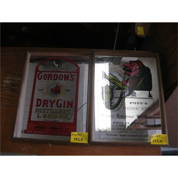 GORDON'S DRY GIN MIRROR & A PUFF'S FRAGRANT WEEDS MIRROR.