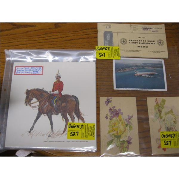 LOT OF POSTCARDS, RCMP DRAWINGS, EARLY UNEMPLOYMENT INSURANCE STAMP BOOK
