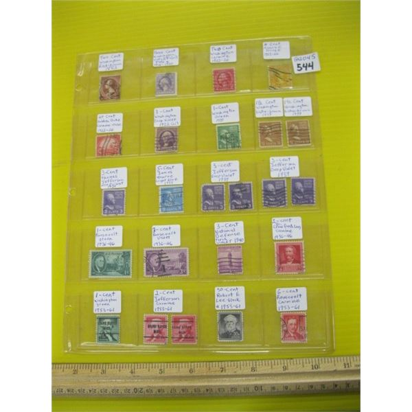 1 PAGE OF COLLECTABLE STAMPS