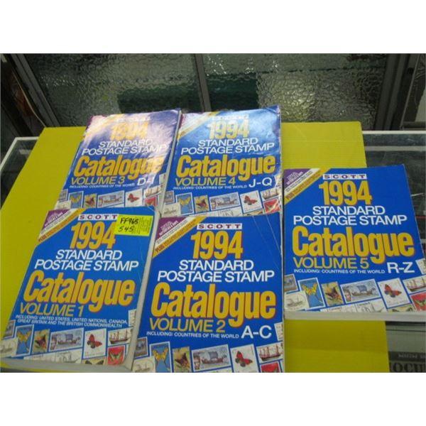 5 1994 VOL. 1-5 STANDARD POSTAGE STAMP CATALOGUES