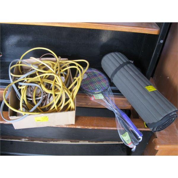 BOX OF MISC. BADMINTON RACKETS, MAT, TRAILER HITCH, EXTENSION CORDS, ETC.
