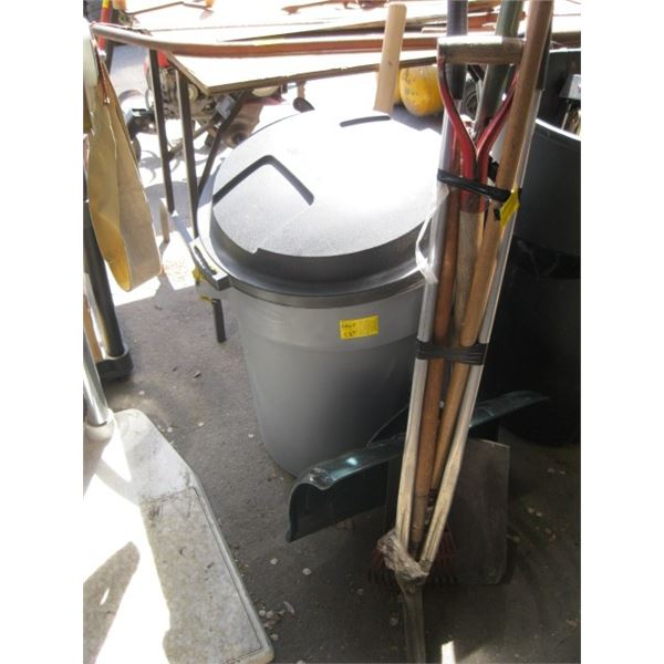 GARBAGE CAN WITH ASST. GARDEN TOOLS