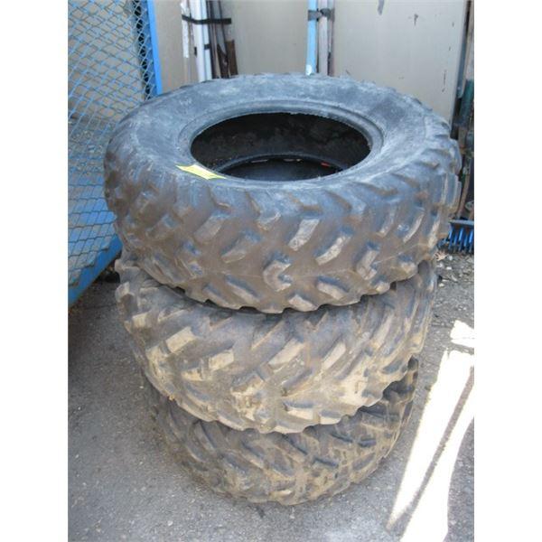 3 ATV TIRES, 2 25X10X12, 1 25X8X12