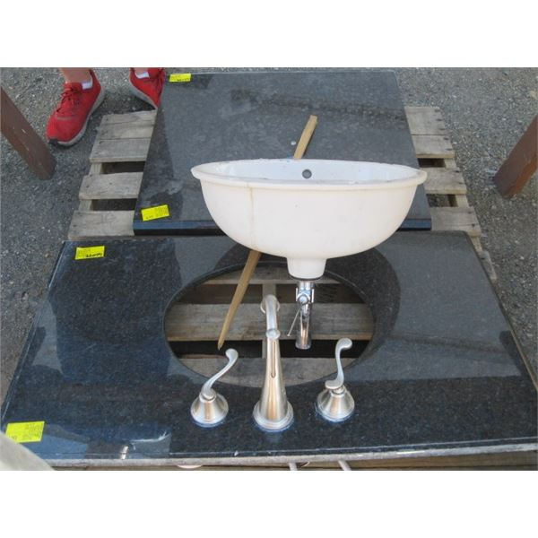 2 PIECES OF GRANITE COUNTER TOP, 1 WITH TAPS & SINK
