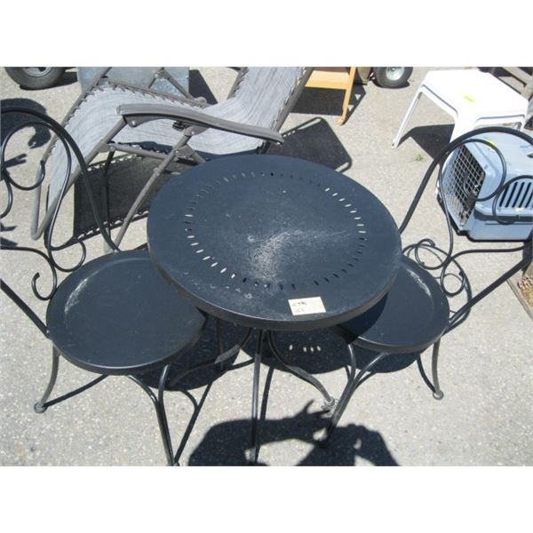 METAL BISTRO TABLE & 2 CHAIRS