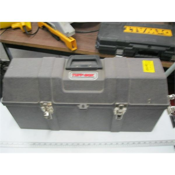 GRAY TOOLBOX WITH ASST. BUNGEE CORDS