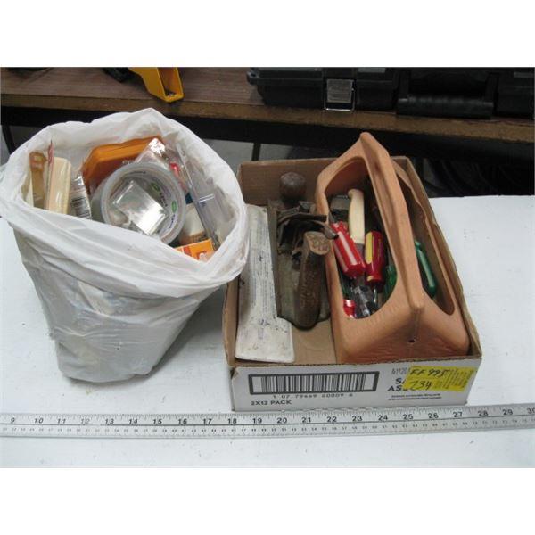 BOX OF MISC. TOOLS, SCREWDRIVER, WOOD PLANE, KNIVES, ASST. SCREWS & A BAG OF ASST. SCREWS, ETC.