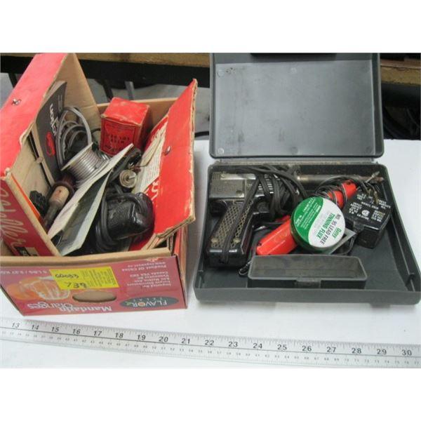 BOX OF MISC. SOLDERING GUNS, ETC.