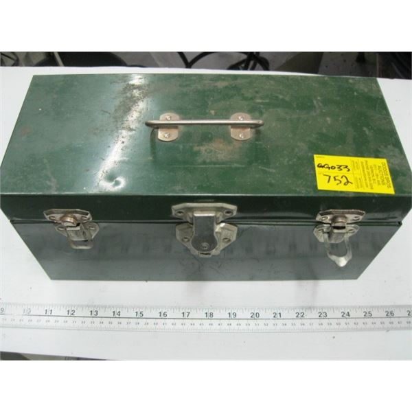 GREEN TOOLBOX WITH ASST. CONTENTS, TUNE UP ANALYZER, TIMING GUN, ETC.