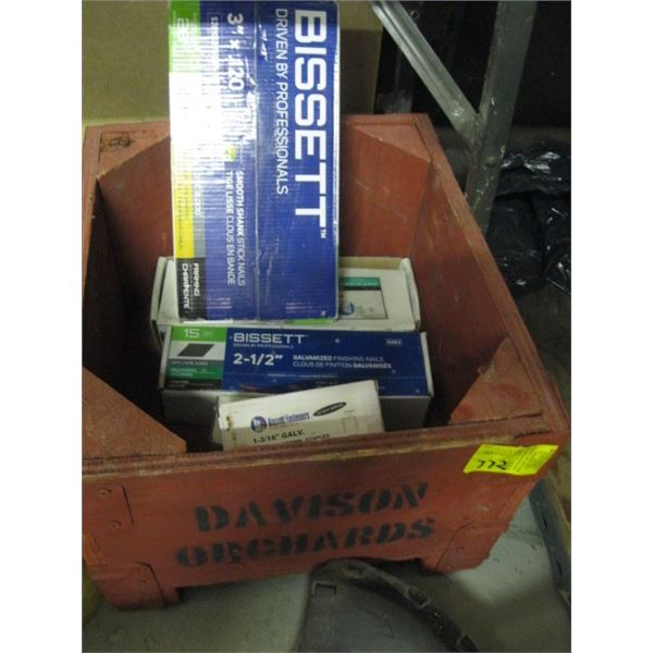 """BOX OF MISC. STAPLES, 3"""" NAILS, ETC."""