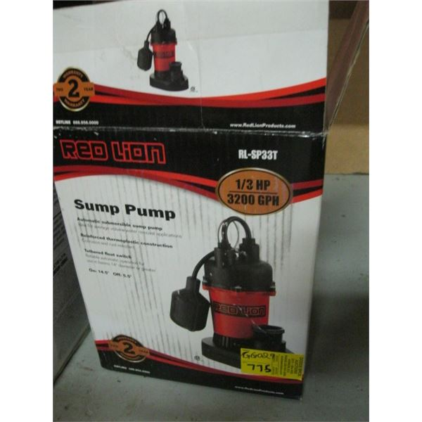 RED LION SUMP PUMP WITH FLOAT SWITCH