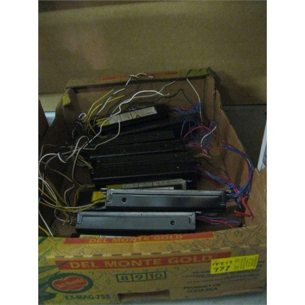 BOX OF ASST. FLUORESCENT LIGHT BALLASTS