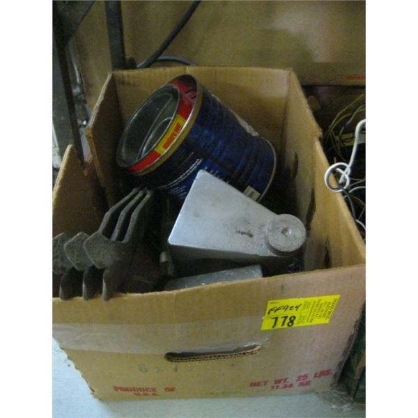 BOX OF MISC. SMALL CHAIN, ALUMINUM WEIGHT, MUG, ETC.
