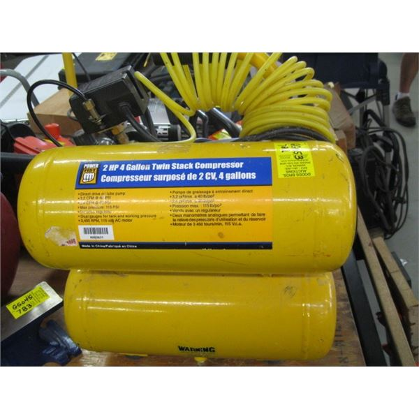 """""""AS IS""""  2HP 4 GALLON TWIN STACK COMPRESSOR"""