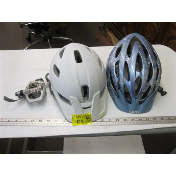 2 BIKE HELMETS & 1 PAIR OF SHIMANO CLIP ON PEDALS