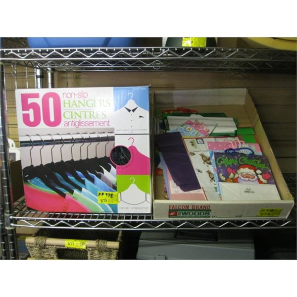 50 NON SLIP HANGERS & A BOX OF ASST. GIFT BAGS, CARDS, ETC.