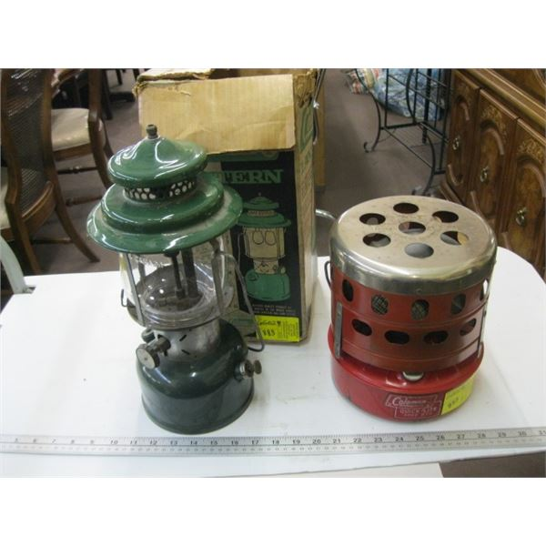 COLEMAN DOUBLE MANTLE GAS LANTERN & GAS CATALYTIC HEATER