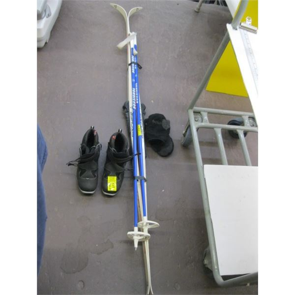PAIR OF FISHER CROSS COUNTRY SKIS, BOOTS & POLES