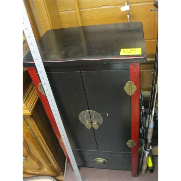 SMALL BLACK & RED SINGLE DRAWER 2 DOOR CABINET