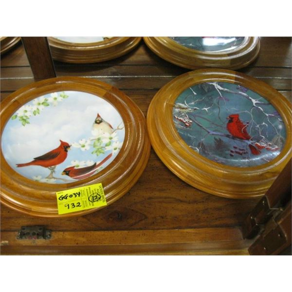 12 COLLECTOR PLATES WITH THE BIRDS, WOOD FRAMED