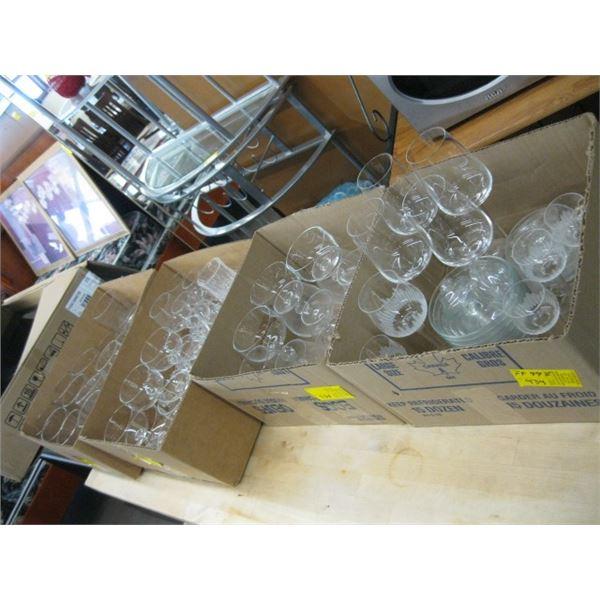 4 BOXES OF ASST. WINE GLASSES, DRINKING GLASSES, ETC.