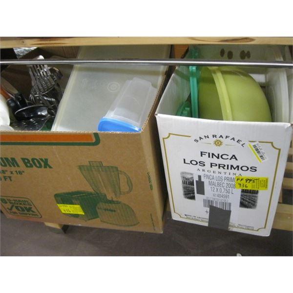 2 BOXES OF MISC. PLASTICWARE, TUPPERWARE, UTENSILS, ETC.