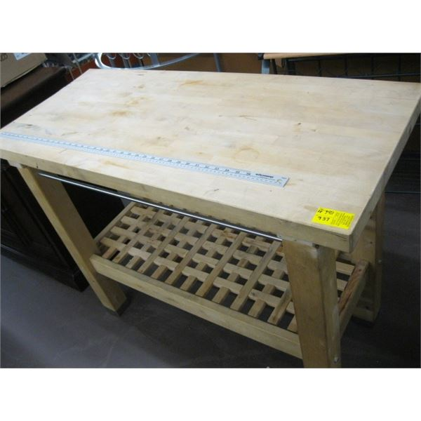 HEAVY WOOD CUTTING BLOCK STYLE TABLE
