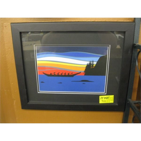 FRAMED COLORFUL PRINT OF THE WAR CANOE (1 of 80)