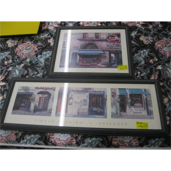 2 MATCHING FRAMED PRINTS, THE BISTRO & THE TAVERN
