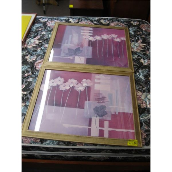 2 FRAMED PRINTS OF THE LEAFS & FLOWERS